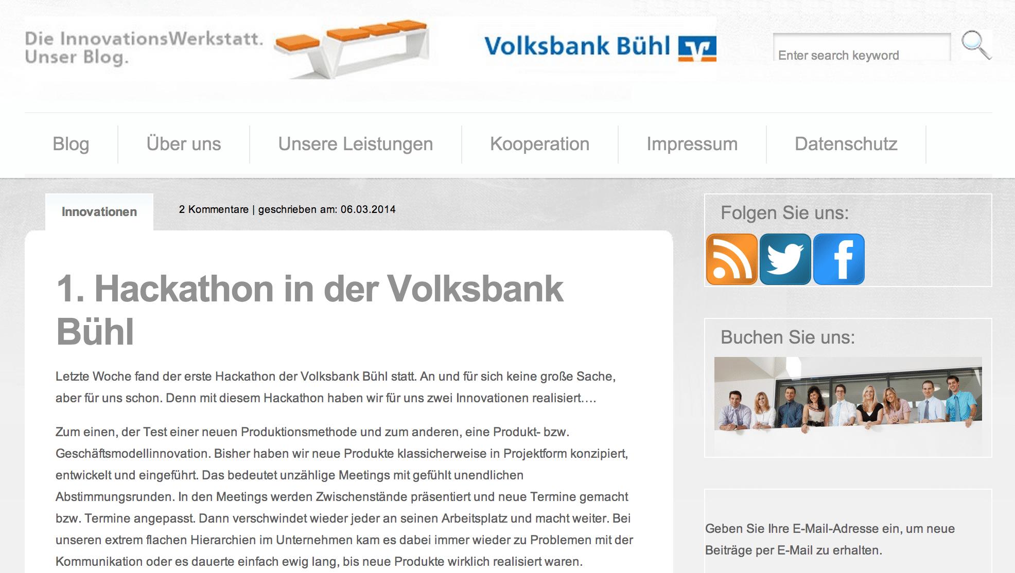 Vorbild für Banken - Volksbank Bühl 15.03.2014