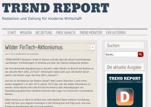 """Mein Beitrag im Trendreport – """"Wilder FinTech Aktionismus"""""""