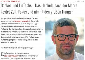 Mein aktueller Beitrag im IT-Finanzmagazin: Banken und FinTechs