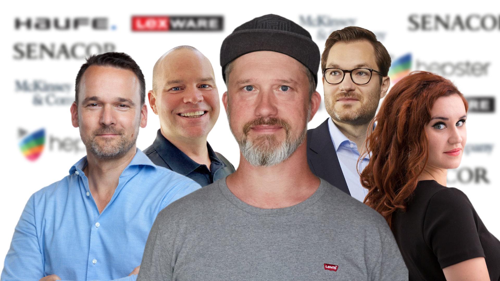 Wolff Graulich (Senacor Technologies), Christian Steiger (Haufe-Lexware), Maik Klotz (Payment & Banking), Simon Kaesler (McKinsey & Company) und Hanna Bachmann (hepster) v. l. n. r., sprechen über Insurtechs und die Digitalisierung der Versicherungen.